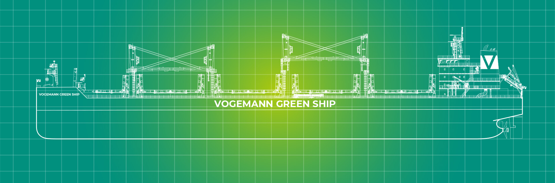 Vogemann Backbord Schiff auf grünem Hintergrund