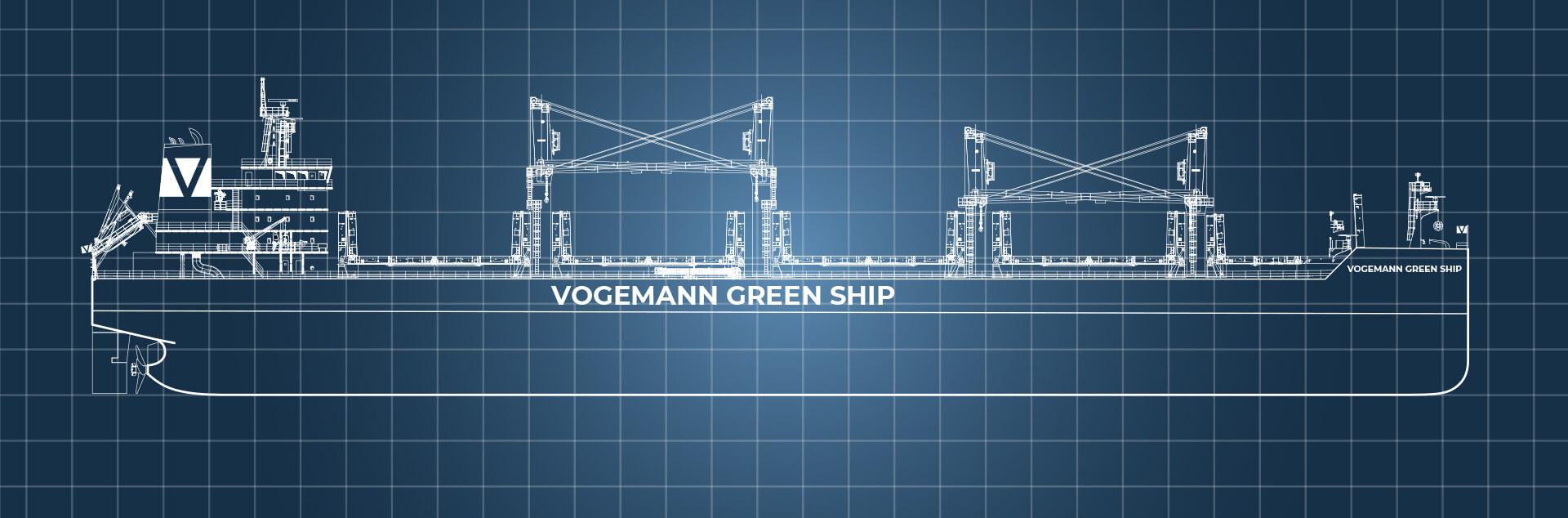 Vogemann Steuerbord Schiff auf blauem Hintergrund